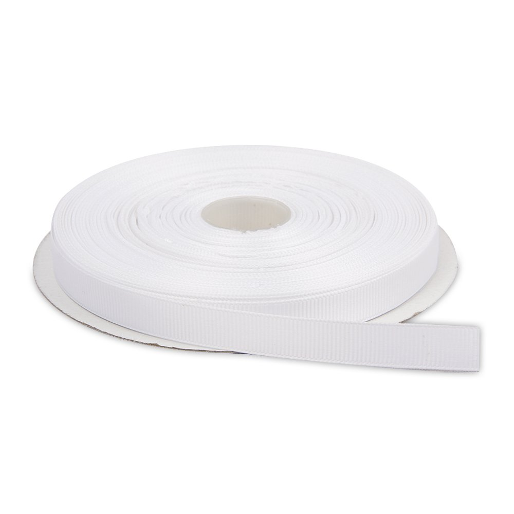 Topenca Supplies 1/2 Inches x 50 Yards Double Face Solid Grosgrain Ribbon Roll, White by Topenca Supplies