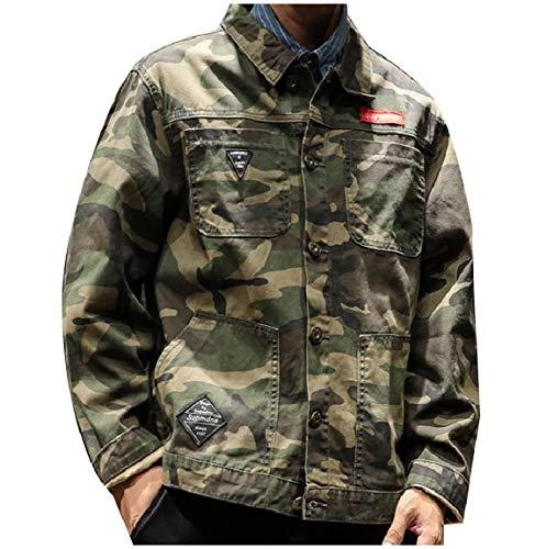 Pockets Button MogogoMen Army Trucker Green Casual Collar Down Jacket Multicam Turn r6qX5wr