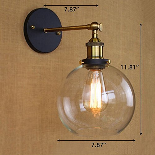 Baycheer hl416426 vintage industrial edison style finish round glass baycheer hl416426 vintage industrial edison style finish round glass ball shape wall lamp vintage lighting fixture lights wall sconce aloadofball Image collections