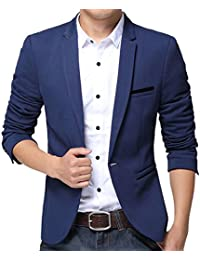 Men's Slim Fit Suits Casual One Button Flap Pockets Solid Blazer