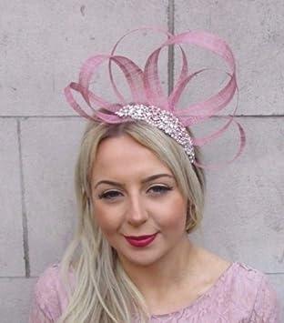 9e1b1836b5a4a Rose Gold Rose Pink Silver Sinamay Fascinator Headband Races Hair Band Vtg  4536