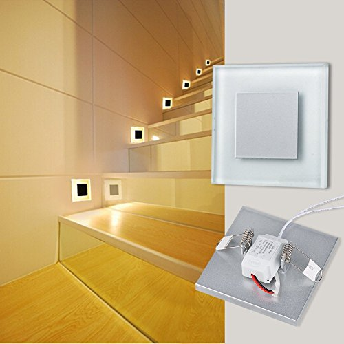 INHDBOX 3W Recessed Wall Stairs Step NightLED Lamp Light 85V~ 265V-Shatter Resistant Tempered Glass with Aluminum, Modern Warm White Guide Light Indoor for Stairways Decks, Balcony & (3 Recessed Step Light)