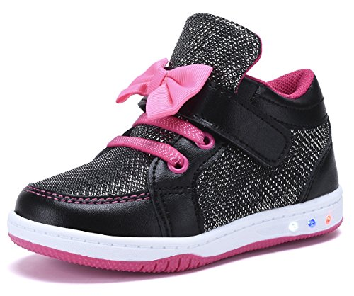 YILAN YL313 Toddler Glitter Shoes Girl's Flashing Sneakers With Cute Bowknot BK/FU-9 (Cute Back To School Shoes For Girls)