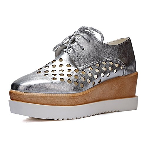 Maybest Womens Hollow Out Lace-up Fashion Wedge Mid Heel Oxfords Shoes Silver