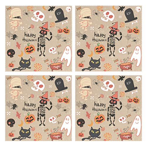 Humphy Albe 100% Polyester Happy Halloween Clip Art Cartoon Set Vector Image placemat, Heat-Resistant Non-Slip Kitchen Table mat Easy to Clean (Set of 4) ()