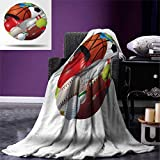 smallbeefly Sports Digital Printing Blanket Soccer Ball Combined Other Sports Equipment Universal Hockey Darts Boxing Fun Summer Quilt Comforter 80''x60'' Multicolor