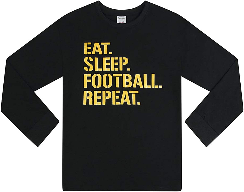 The PyjamaFactory Boys Eat Sleep Football Repeat Long Cotton Pyjamas Gold Unisex