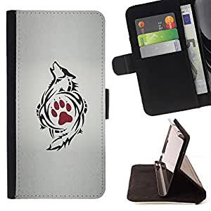 Momo Phone Case / Flip Funda de Cuero Case Cover - La pata del dibujo del arte del tatuaje rojo - Apple Iphone 5C