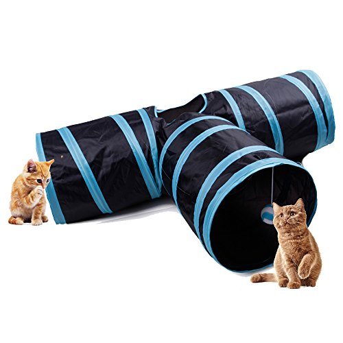 Multill Collapsible 3 Way Cat Run Road Play Tube Tunnel Toy for Cats and Little Dogs Blue by Multill