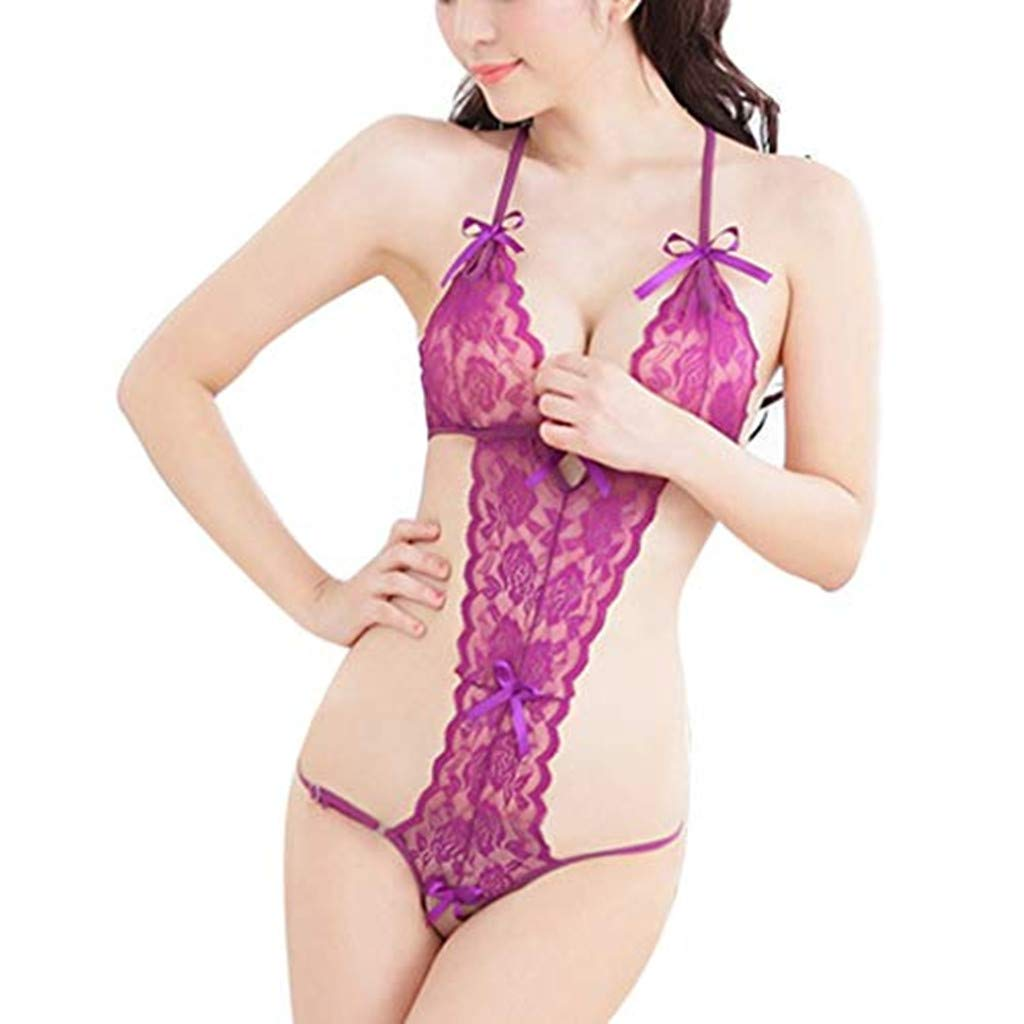 Women Lace Babydoll Halter Dress V-Neck Lingerie Sexy One Piece Bodysuit Sleepwear Nightgown (Purple,L)