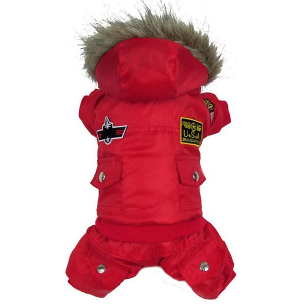 Red XS Red XS Jim Hugh Dogs Coat Jacket Waterproof Kitten Thick Hoodies Coats Dog Pet Warm Winter Puppy Clothes