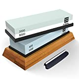 ASEL Knife Sharpening Stone Set: 400/1000 Grit Water Stone, 3000/8000 Grit Water Stone, Bamboo Base and Bonus Angle Guide