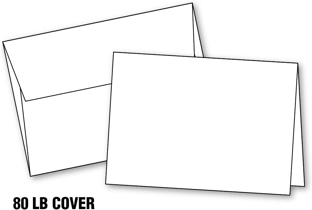 """Blank White Invitation Cards with Envelopes, (10""""x7"""") 5""""x7"""" When Folded, Scored, Heavy Duty, Blank Greeting Christmas Cards Printable (20 Cards & Envelopes) A7."""
