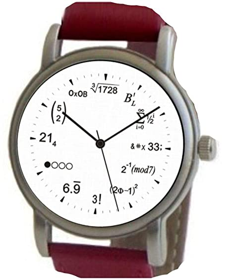 """Math Dial"" Watch Shows Physics Equations on the White Dial of the Brushed"