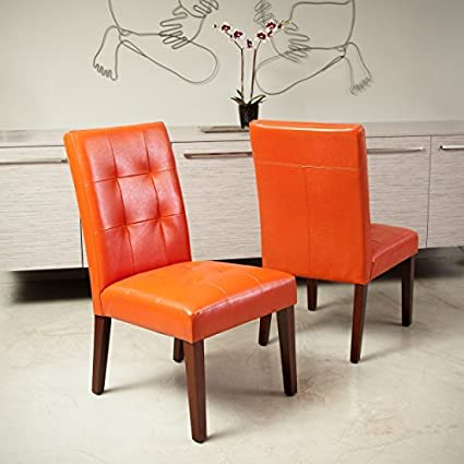 Incroyable Highland Orange Leather Dining Chair (Set Of 2)
