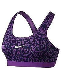 Women's Nike Pro Classic Facet Sports Bra Cosmic Purple/Black/White Size Large