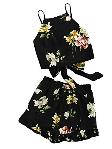 Floral Spaghetti (SweatyRocks Women's Boho Floral Print Spaghetti Strap Crop Cami Top with Shorts Black S)