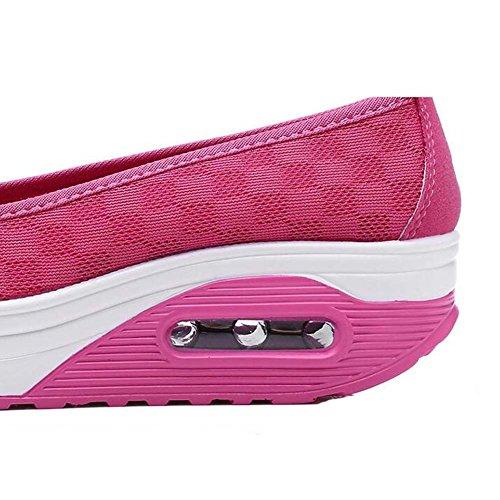 On Sport Sneaker Damen Netz JOMNM wedges Plateau Slip Laufschuhe Rose Keilabsatz Freizeitschuhe Atmungsaktiv nqBPww0xUC