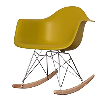 Remarkable Charles Eames Style Mustard Yellow Plastic Retro Rocking Pabps2019 Chair Design Images Pabps2019Com