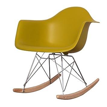 Charles Eames Moutarde Jaune Rétro En Plastique, Chaise à Bascule De Style
