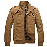 Men Casual Long Sleeve Full Zip Jacket with Shoulder StrapsKQ3L,Khaki,US Large/Tag Asian 3X-Large