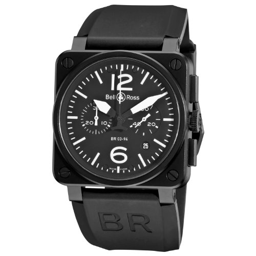 Bell-Ross-Mens-BR-03-94-CARBON-Aviation-Black-Chronograph-Dial-Watch-Watch