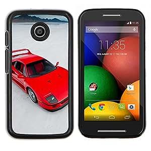 Caucho caso de Shell duro de la cubierta de accesorios de protección BY RAYDREAMMM - Motorola Moto E - Red Sports Car
