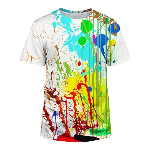 Kayolece Mens Womens Colorful Rave Short Sleeve T Shirts Paint Splatter Blood Fashion Tops for Boys Girls - Shops Clothes Rave