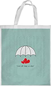 Love will stay alive Printed Shopping bag, Small Size