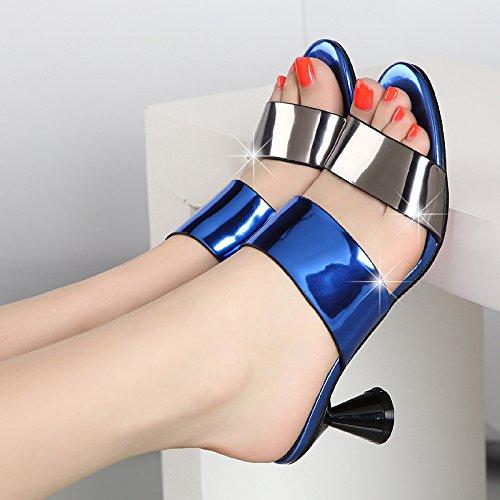 AWXJX Frauen Flip Flops High High High Heel Schnalle Dick mit Atmungsaktiv Blau 5.5 US 35.5 EU 3 UK 094233