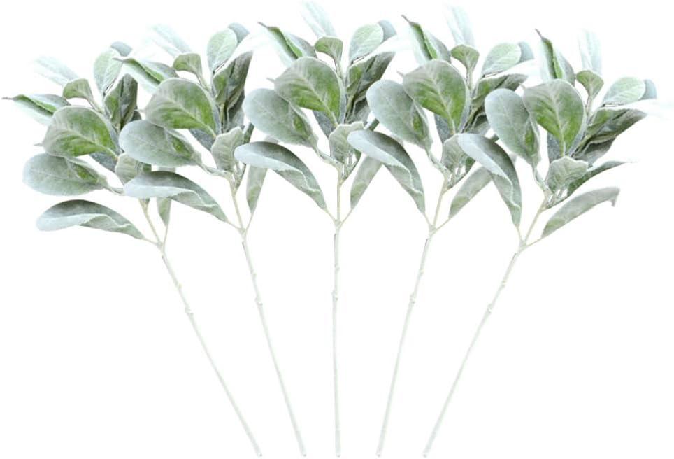 DOITOOL 5 Piezas Plantas Artificiales Ramo de Flores Flocado Oreja de Conejo Hojas Falsas Hojas de Eucalipto Tallos Florero Adorno de Relleno para Boda Jardín Balcón Granja (Verde)