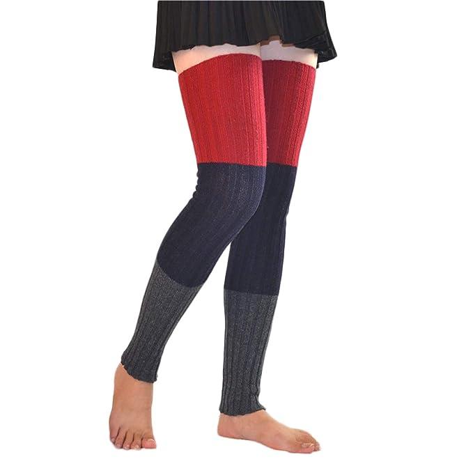 Amazon.com: Calentadores de pierna de punto largo para mujer ...