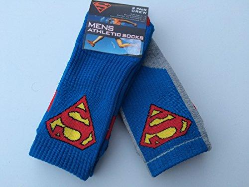 Marvel Mens 2 Pairs/Pack Athletic Crew Socks, Supermen Symbol, Shoe Size 6-12