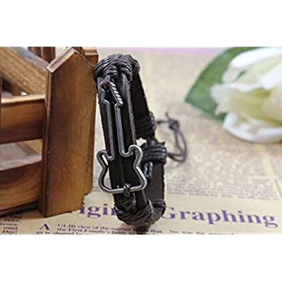 YunKo Hand-Made Braided Genuine Leather Bracelet Resizable Valentine's Day Father's Day Mother's Day Birthday Gift Guitar Brown: Toys & Games