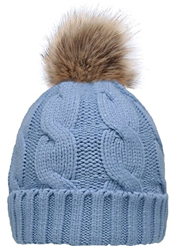 NEOSAN Women's Winter Ribbed Knit Faux Fur Pompoms Chunky Lined Beanie Hats Twist Blue