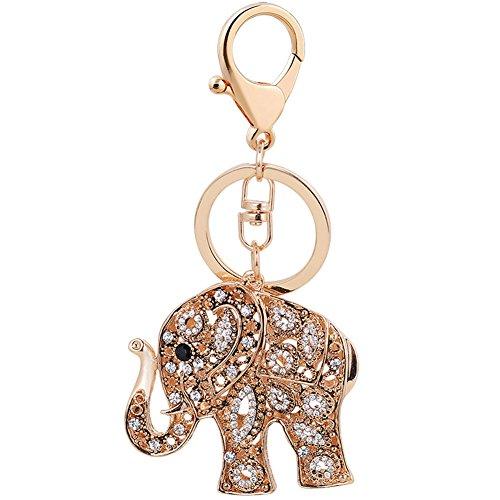(Elephant Keychain Creative Novelty Crystal Rhinestone Animal Key Chain Keyring for Women Handbag Pendant(Gold))