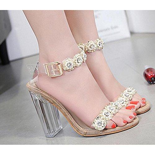 Talón Oro ZHZNVX sandalias mujer bomba Primavera Verano Gold PU Casual básica Zapatos Comfort de Chunky Plata de 11OwPH