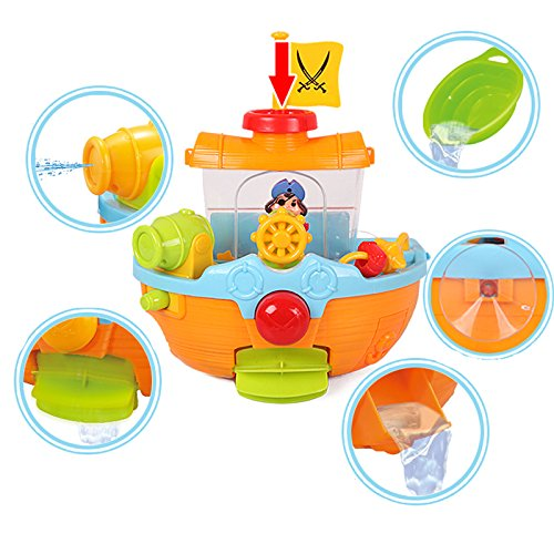 Liberty Imports Wall Mountable Pirate Ship Bathtub Bath Toy for Kids with Water Cannon and Boat Scoop