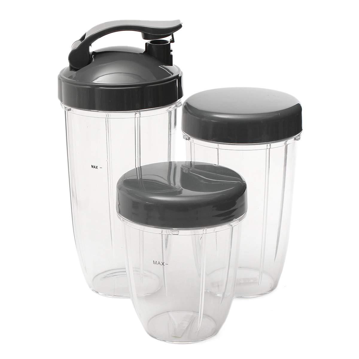 18oz Small Cup+3 Lids For Nutribullet Fruit Juicer Parts Kitchen Appliance Bottle 24 Oz Tall Noblik 3Pcs Replacement Cups 32 Oz Colossal