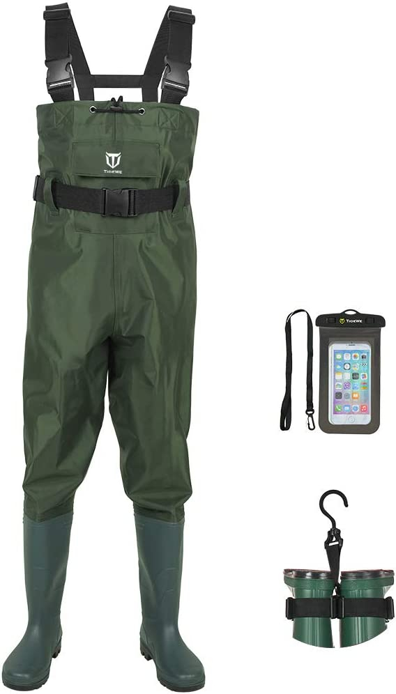 TIDEWE Bootfoot Chest Wader, 2-Ply Nylon/PVC Waterproof Fishing & Hunting Waders with Boot Hanger for Men and Women (Green and Brown) : Sports & Outdoors