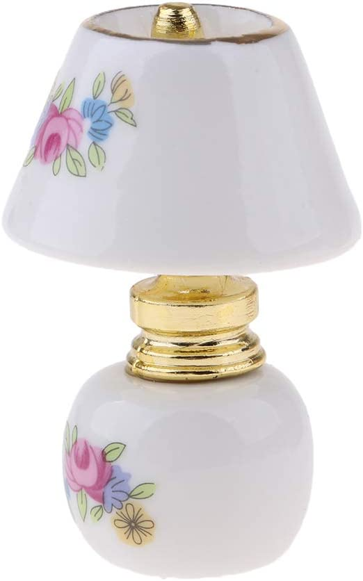 MagiDeal 2x 1//12 Dollhouse Mini Table Lamp Model that Lights Up w// Lampshade