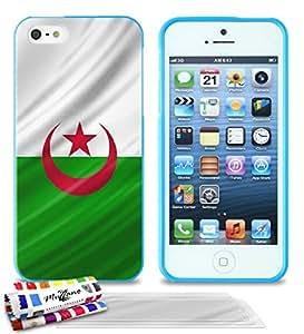 """Carcasa Flexible Ultra-Slim APPLE IPHONE 5 de exclusivo motivo [Algerie Bandera] [Azul] de MUZZANO  + 3 Pelliculas de Pantalla """"UltraClear"""" + ESTILETE y PAÑO MUZZANO REGALADOS - La Protección Antigolpes ULTIMA, ELEGANTE Y DURADERA para su APPLE IPHONE 5"""