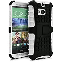 HTC One M8 Case, MagicMobile® Hybrid Armor Heavy Duty Shockproof Impact Resistant Dual Hard Black Plastic Layer and White Flexible TPU Gel Skin Defender Cover with Kickstand [Compatible Only with HTC One M8]