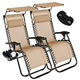 Artist Hand 2 Pack of Zero Gravity Outdoor Folding Lounge Chairs w/Sunshade Canopy+ Snack Tray,Adjustable Lawn Patio Reclining Chairs for Travel Yard Beach Pool (Tan)