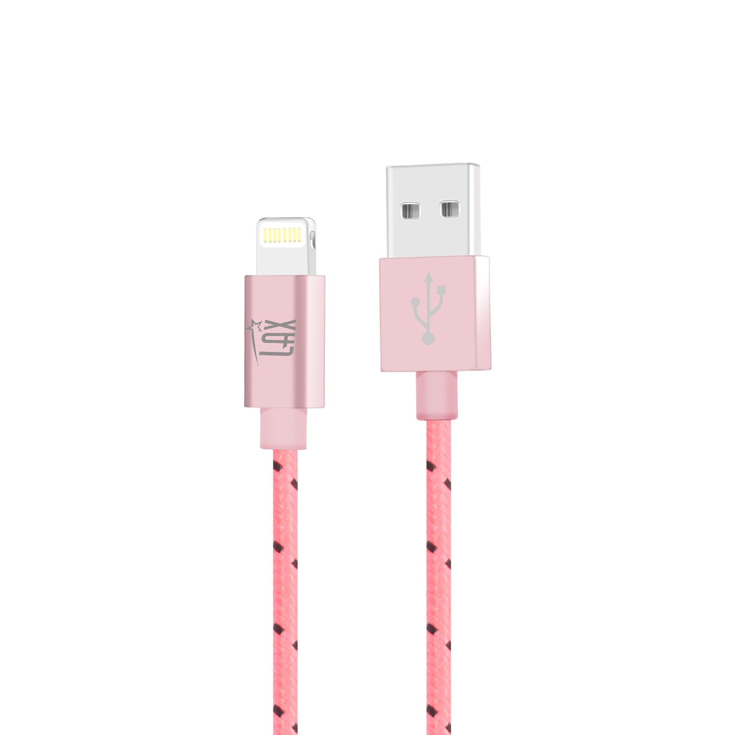 LAX Gadgets Extra Long Apple MFi Certified Nylon Lightning Cable Cord | 6 Ft - Pink by LAX Gadgets (Image #1)