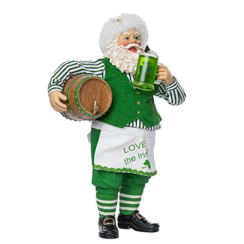 Kurt Adler Fabriche' Musical Irish Santa with Beer Barrel, 10-Inch
