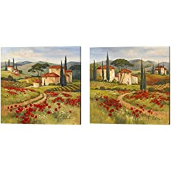 Tuscan Dream by Barbara Mock, 2 Piece Canvas Art Set, 14 X 14 Inches Each, Landscape Art