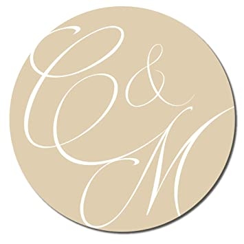 Personalised wedding engagement stickers abstract initials 60mm various colours and