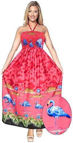 LA para Vestido de el de de Mangas Playa LEELA Tubo Cubre Maxi Noche del Largo Arriba Ropa Traje Mujeres de sin Las Falda Camiseta baño de la Rojo g106 ZZrx4qTUw