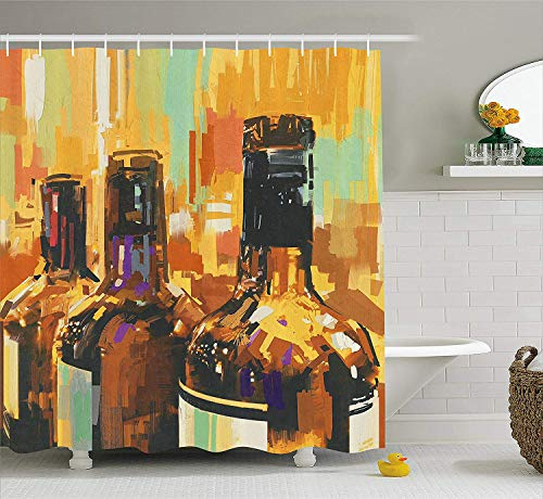 Abaysto Wine Colorful Painting Style Bottles of Wine with Vivid Bruststrokes Beverage Artwork Print Wide Multicolor Polyester Fabric Shower Curtain Sets with Hooks Waterproof Mildew Bathroom Decor